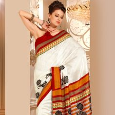 Off White and Orange Art Silk Saree with Blouse Online Shopping: STS2446B
