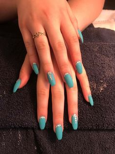 Acrylic Matte Turquoise Nails with  jewels done By Lyndee Studio 914