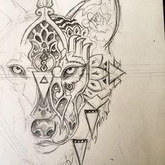 Almost finished @tommyhinchcliffe then I'll mirror the other side! #tattoo #wolf #mandala #instagood #instaart #instagramart #art #artstudent #artclass #artoninstagram #wip #workinprogress #animal #reynardreveries #artanddesign #design #illustration...