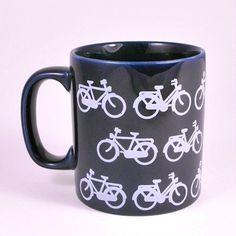Vintage 70s Pop Art Kitsch Kilncraft Staffordshire Pottery Blue Bicycle Bike Mug