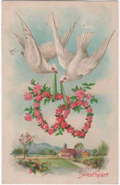 Pair of Lovebirds Carrying Heart Shaped Wreaths Roses Vintage Valentine Postcard My Funny Valentine, Valentine Images, Valentines Day Greetings, Vintage Valentine Cards, Birthday Greetings, Wedding Shower Cards, Wedding Cards, Decoupage, Victorian Valentines