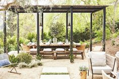 "Julianne Hough Gives Her Outdoor Space a Chic Makeover: ""I love my pergola which has a hand woven roof that adds so much character to my yard and keeps my friends and I shaded during our big feasts. Backyard Retreat, Backyard Pergola, Pergola Kits, Ojai Retreat, Backyard House, Pergola Ideas, Gazebo, Outdoor Rooms, Outdoor Dining"