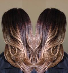 Balayage highlights with dark brown base for the contracts. I used new Majirel Cool Cover for the base, the color is just amazing! It gives an incredible shine and fades without the brassiness.  720-917-5165 www.hairbynatalia.com #balayagedenver