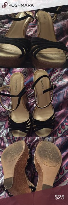 Maurices Black Wedges Super cute and still have lots of life left in them.  Only worn a few times Maurices Shoes Wedges