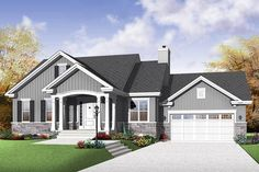 26 new Ideas for house plans with basement bungalows design House Plans One Story, New House Plans, Small House Plans, House Floor Plans, Bungalow Haus Design, Bungalow House Plans, Craftsman Style House Plans, House Design, 1200 Sq Ft House