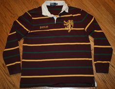 Polo Ralph Lauren long-sleeve Rugby Shirt Gryphon Spell Out Custom Fit Men's XL #PoloRalphLauren #PoloRugby