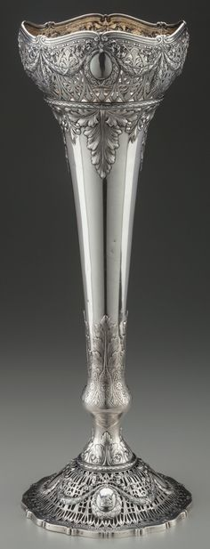 Shreve & Co sterling silver ornate vase - San Francisco, c1890 (Heritage Auctions)