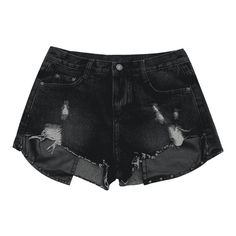 Ripped Cutoffs PU Panel Denim Shorts Black S ($20) ❤ liked on Polyvore featuring shorts, destroyed jean shorts, cut-off jean shorts, distressed cut off shorts, denim shorts and denim short shorts