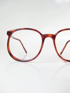 1970s Oversized Wayfarer Eyeglasses Womens Mens Unisex Tortoiseshell Brown Amber 70s Indie Hipster Boho Chic Bohemian Circular Round Classic