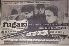 Fugazi, Magic Dirt, Rootbeer& Noise addicts (Ben Lee) Wall Street flyer,  Melbourne early 90s