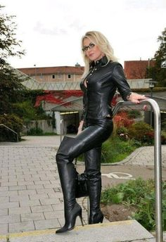 Crazy Outfits, Hot Outfits, Mens Leather Shirt, Black Thigh High Boots, Leather Lingerie, Leather Fashion, Leather Outfits, Belle Photo, Lady