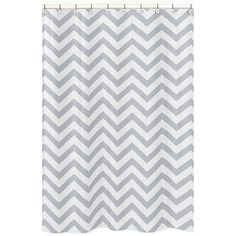 Add a touch of style to your bathroom with the Sweet Jojo Designs chevron shower curtain in a grey and white finish. This brushed microfiber curtain is machine washable for repeated use and convenience.