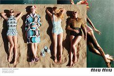 Miu Miu Spring 2017 Advertisement Campaign, Photographer Alasdair McLellan, Models Elle Fanning, Carolyn Murphy, Karen Elson, Lara Stone, Birgit Kos, & more