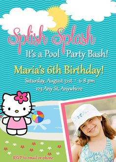 Hello Kitty Inspired Pool Party Birthday Invitation with photo -Style 2 - PRINTABLE FILE Hello Kitty Invitations, Pool Party Birthday Invitations, Kitty Party, Photo Style, Mini Me, Rsvp, Birthdays, Printable, Party Ideas