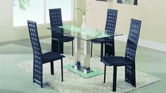 Global D2108DT-FR+D027DC-BL Diningroom Set - Modern diningroom set. Table is made of metal, table top made of clear tempered glass. The set will fit perfectly into any contemporary interior. Diningroom with black accents.