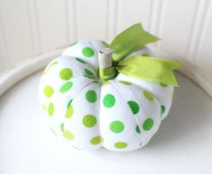 Lime Green and White Polka Dot Cotton Pumpkin by SeaPinks on Etsy