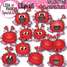 Give your Valentine's Day teaching resources and classroom decorations lots of enthusiasm and personality with these overly happy little pink and red monsters! There are 10 different color graphics along with the black line versions; so there are 20 graphics total included.