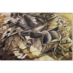 Trademark Fine Art The Charge of the Lancers, 1915 inch Canvas Art by Umberto Boccioni, Size: 16 x 24, Multicolor