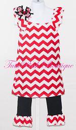 Christmas Chevron Boutique Dress & Ruffle Pants Boutique Outfit TutuPink Boutique Tutu Pink