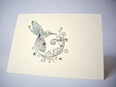 hummingbird note card hummingbird greeting card by JDooreCreations