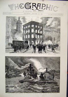1891 Great Fire London Floating Fire Engine Thames