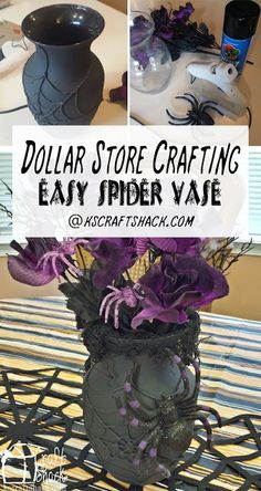 "The dollar store can be a really great resource for making holiday decor items when you combine a few of them! You can get a really great finished look for only a few dollars! From the dollar store I used a glass vase, silk Halloween flowers, a plastic spider, and black ""creepy cloth.""   Not from the …"