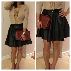"""Faux Leather Skater Skirt ❤️Black Faux Leather Skater Skirt .  High quality Material is soft smooth faux leather, zipper on side , elastic waist.  Length is 17"""" long,  60% polyurethane, 40% polyester. Flirty Meow Boutique Skirts Circle & Skater"""