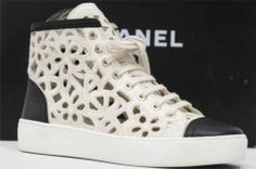 CHANEL CC LACE CUTOUT LEATHER HIGH TOP SNEAKERS SHOES 35.5/5.5
