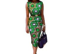 Women Summer Midi Dress Sleeveless fitted African Print Dresses Dashiki African Traditional Clothing Bandage Dress