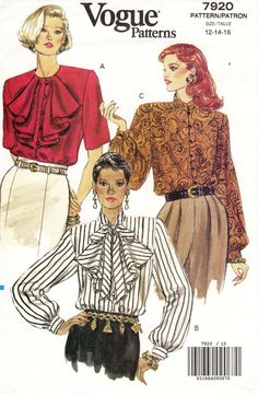 Sz - Vogue Blouse Pattern 7920 - Misses' Loose-Fit, Button Front Blouse with Jabot, Collar or Ties in Three Ways - Vogue Pattern Vintage Dresses, Vintage Outfits, Vintage Fashion, Fashion Art, Sunday Brunch Outfit, Fashion Through The Decades, Vintage Vogue Patterns, Fashion Illustration Vintage, Clothing Patterns