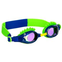 Green and blue reptile-themed swimming goggles by Bling2o, with raised spikes and eyes on the frames. They have a latex-free strap, anti-fog lenses and give 100% UV protection. To ensure a perfect fit, three sizes of detachable nose bridges are included. Boys Designer Clothes, Aqua Shoes, Boys Swimwear, Designer Swimwear, Wall Sconce Lighting, Sun Protection, Boy Birthday, Protective Cases, Boy Outfits