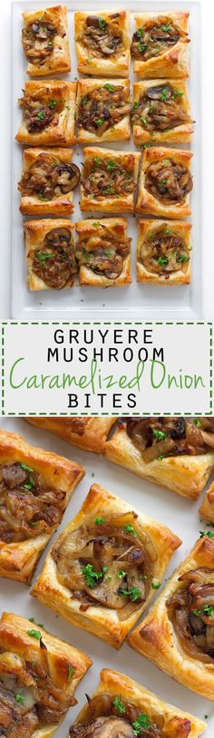Gruyere Mushroom & Caramelized Onion Bites with sautéed crimini mushrooms, balsamic caramelized onions, and applewood smoked gruyere cheese. So so yummy! Finger Food Appetizers, Cheese Appetizers, Appetizers For Party, Finger Foods, Appetizer Recipes, Delicious Appetizers, Christmas Parties, Christmas Treats, Christmas Cocktail Party Appetizers