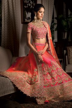 Bridal Lehengas - Hot Pink and Peach Shaded Lehenga | WedMeGood Hot Pink Raw Silk Blouse, Hot Pink and Peach Shaded Silk Lehenga with Zardosi work, Hot Pink and Peach Shaded Net Dupatta with Zardosi work and Stone work #wedmegood #hotpink #peach #lehenga #bridal #zardosi