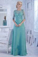 Sexy See Through zelené matka nevěsty šaty Vestido Mae da Noiva Grooms Mateřské šaty dlouhé večerní šaty s rukávy (Čína (pevninská část))