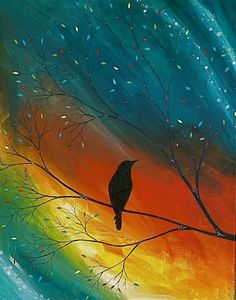 """Original """"Dreams"""" acrylic on canvas painting 16 x via Etsy. Wine And Canvas, Pictures To Paint, Acrylic Art, Bird Art, Love Art, Painting Inspiration, Painting & Drawing, Amazing Art, Art Projects"""