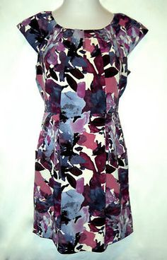 Summer Dress Womens Size 10 P Apt. 9 Floral Maroon Blue Cream Pleated & Lined $22.50