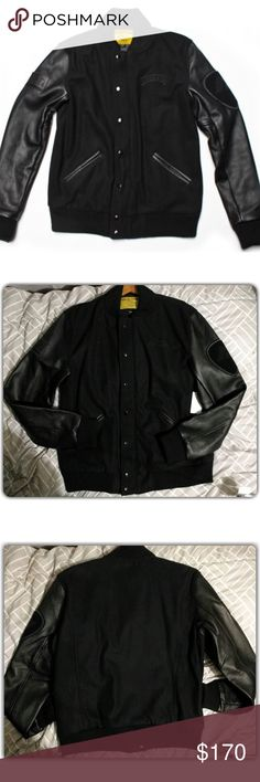 Macbeth Footwear Varsity Jacket XL Brand: Macbeth Footwear Varsity Jacket [Tom Delange] Size: XL Color: Black|Black Measurements:  Condition: New With Tags  Description: Real Leather Sleeves & Wool. Make me an offer, and I will see what I can do.    http://macbeth.com/us/macbeth-varsity-jacket-black-black.html MACBETH Jackets & Coats Bomber & Varsity