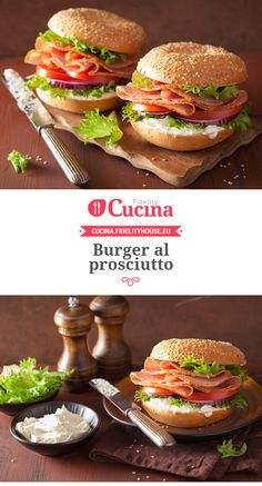 Burger al prosciutto Panini Sandwiches, Toast Sandwich, Prosciutto, French Sandwich, Wine Recipes, Cooking Recipes, New Zealand Food, International Recipes, Snacks