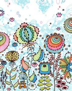 Playful flowers.  Дудлинг. Создай свой мир - Ярмарка Мастеров - ручная работа, handmade