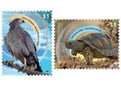 Correo Argentino. Fauna silvestre en extinción: Águila coronada - Tortuga de tierra  Pineado de http://www.correoargentino.com.ar/filatelia/emisiones/sellos_conmemorativos