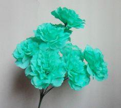 Mint Robin BlueRed Royal Blue Peonies 9 Head Silk Flower Wedding Decor by sophieliu2 on Etsy