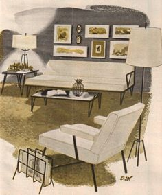 I grew up with this kind of furniture, and it's one of the styles I love. stylish mid-century living