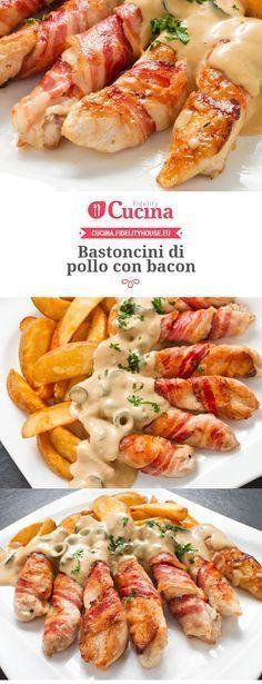 I bastoncini di #pollo con #bacon sono un secondo piatto sfizioso, veloce da preparare e davvero originale per stupire i vostri ospiti.