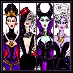 The Disney Diva Villainess collection by Hayden Williams. The Evil Queen, Cruella, Maleficent, and Ursula. Kida Disney, Walt Disney, Disney Magic, Evil Disney, Disney Fan Art, Disney Style, Disney Love, Disney Villains, Disney Characters