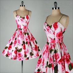vintage 1950s dress . TABAK CA . pink floral by millstreetvintage