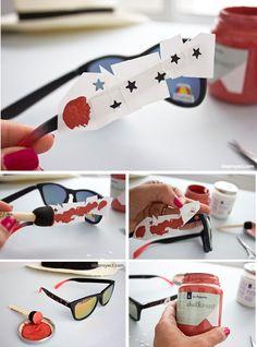 Gafas de sol con estrellas pintadas con chalk paint
