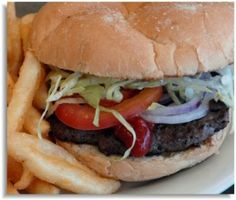 Hamburger: served on a kaiser roll with lettuce, tomato, ketchup, mustard and mayo. From Prime Pizza & Grill in Woodbridge, VA