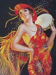 "Art Deco Pinup Pretty Flapper w/ Masquerade Mask ""Carmenita"" by Gene Pressler A+"