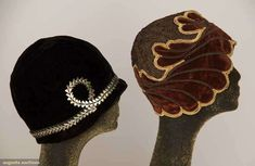 Two Velvet Cloches, 1920s
