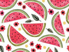 Card Set Watermelon Set of Five by AmeliaHerbertson on Etsy Fruit Illustration, Graphic Design Illustration, Textile Patterns, Print Patterns, Watermelon Cartoon, Collages, Decoration, Art Decor, Pattern Wallpaper